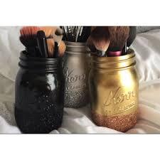 mason jar makeup brush holder. mason jar glittery ombre makeup brush holder