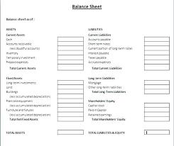 Balance Sheet Template Word Doc Financial Free Business Plan