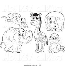 Small Picture Clip Art of a Digital Collage of Coloring Page Outlined African