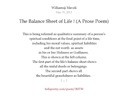 the balance sheet of life a prose poem by williamsji maveli  the balance sheet of life a prose poem by williamsji maveli hello poetry