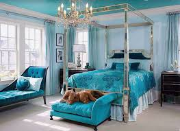 teal color furniture. Beautiful Teal Color Bedroom With Chaise Lounge Bed Seat And Silver Mirrored Four Post Furniture
