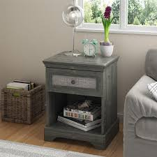 Amazon.com: Ameriwood Home Stone River Nightstand With Fabric Insert,  Weathered Oak: Kitchen U0026 Dining