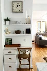 The Chic Technique: We love this home office nook! A set of drawers,  shelves and some chic accessories created this functional space.