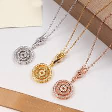whole three circle pendant with full cz diamond rose gold silver color necklace for women vintage collar costume jewelry with original box se rose