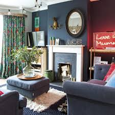 Navy Living Room Furniture Modern Living Room With Navy Blue Walls And Furniture Ideal Home
