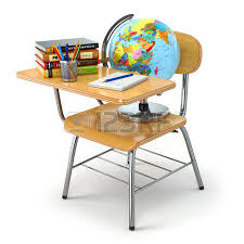 classroom desks and chairs. Wooden School Desk And Chair With Books, Pencils Globe Isolated On White. 3d Classroom Desks Chairs
