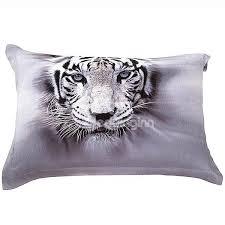 3d white tiger printed cotton 4 piece bedding sets duvet covers beddinginn com