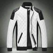 mens contrasting color biker faux leather jacket