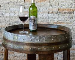 dark walnut stained wine barrel end table with cross braces alpine wine design outdoor