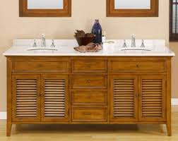 70 inch oak shutter double bathroom vanity set with white marble top