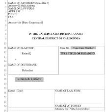 Pleading Template California Pleading Form Central District Of California Word Automation