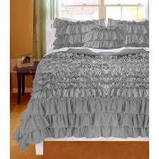 top 43 superb silver grey ruffle duvet cover covers valance egyptian