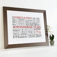 personalised ruby anniversary word art