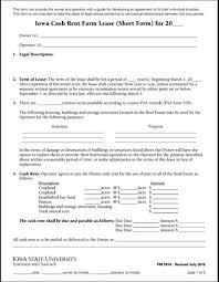 Rent Lease Application Form Iowa Cash Rent Farm Lease Short Form