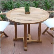 three birds casual oxford 36 round teak patio dining