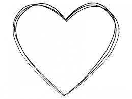 シンプルな白黒ハート型の手書き風フレーム飾り枠イラスト 無料