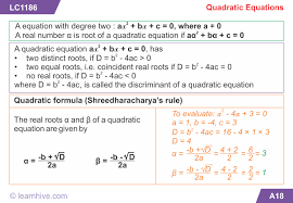 mathematics quadratic equations and inequations