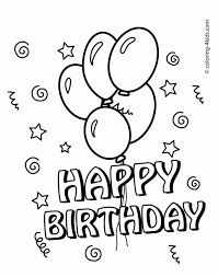 Happy Birthday Balloons Coloring Pages Free