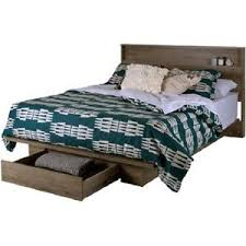 Details about PLATFORM Bed Frame w/ Front Storage Drawer Shelf HEADBOARD Set FULL/QUEEN Size