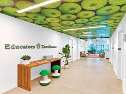 green office interior. Taking Inspiration From The Organization\u0027s Chalk-scribbled Bright Green Apple Logo, Kati Curtis Design Decided To Make Color Element That Office Interior