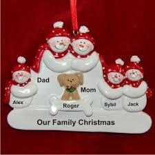 Family of 5 with Tan Dog Family Christmas Ornament