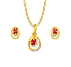 5020161fmaba52 18 karat yellow gold pendant earring set studded with diamonds and rubies