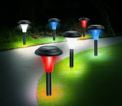 Ideaworks Round Solar Lights Ideaworks Red White And Blue Solar Accent Lighting Ebay