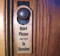 Quiet Please And In Session Wooden Door Hanger On Wood For