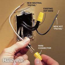 "how to make two prong outlets safer the family handyman photo 2 install new ""pigtails"""