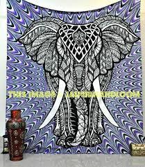 extravagant elephant tapestry wall hanging dorm room hippie psychedelic bohemian jaipur handloom wallpaper uk indian mandala blue