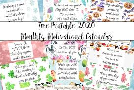 Small Printable 2020 Calendar Free Printable 2020 Monthly Motivational Calendars