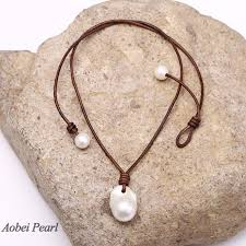 aobei pearl handmade necklace made of freshwater pearl and genuine leather cord single pearl necklace pearl pendant necklace leather pearl necklace