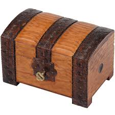 brown wooden chest with lock and key and branded trunk design with lock and key