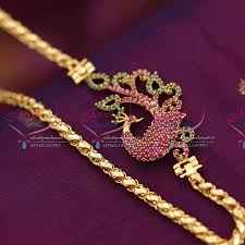 c6247 gold plated 24 inches chain ruby mugappu side pendant fancy
