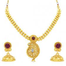 sukkhi pleasing kairi design gold plated necklace set for women