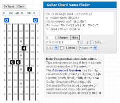 advanced guitar chords lefty gootar guitar chord generator and scale finder programs