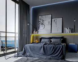 cool bedroom ideas for men also gray curtain color and modern bookshelves  design with hidden light also unique armlesschair and blue modern  nightstand and ...