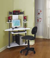 image of small corner desk with hutch with computer