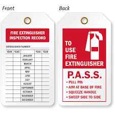 National fire protection association (nfpa) part nfpa 10* occupational safety and health standards. 2 Sided Fire Extinguisher Inspection Record Tag Sku Tg 0574