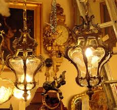 pair hall lanterns baroque style curved bronze and cut glass france 19th century