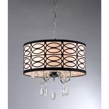 olga 4 light chrome crystal ceiling chandelier with fabric shade