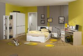 Bedroom Decor Yellow And Grey Wall Colors Decor With Corner White Cupboard  Also Desk Computer With