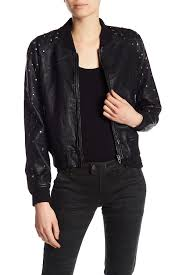 blanknyc denim studded faux leather er jacket