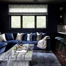 Dark Contemporary Living Room With Navy-Blue Sofa