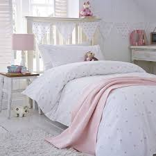 pink stars organic cotton bedding white duvet set kid s star themed bedding children room