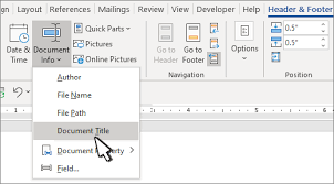Ms Word Header Add The File Name Date Author Or Other Document Properties