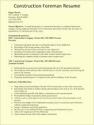 Construction Supervisor Resume Exampless Civil Foreman Format Cv