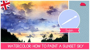 watercolor class how to paint a sunset sky easy technique for beginners by fantasvale you