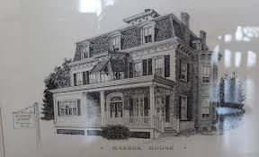 vintage ilration of harbor house in cos cob