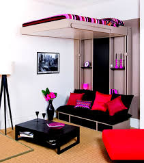 Use Cute Room Ideas For Small Space With Loft Bed And Black Sofa Facing  Dark Coffee